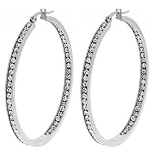 Gem Stone King 1-Inch Stunning Stainless Steel High Shine Inside-Out Hoop Earrings With CZ