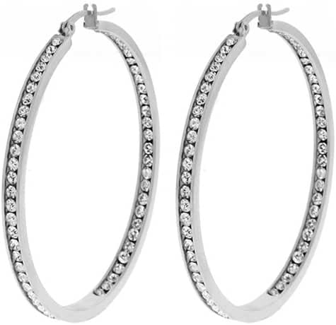 Gem Stone King 2-Inch Stunning Stainless Steel High Shine Inside-Out Hoop Earrings With CZ