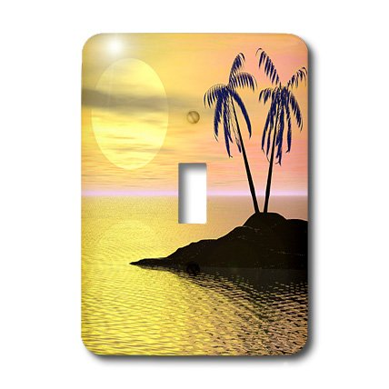 3dRose LLC lsp_18169_1  Palms Palm Trees Silhouette on Tropical Island Against Sunset Backdrop - Single Toggle ()