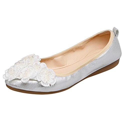 Taoffen Womens Mode Chaussures Mocassins Argent