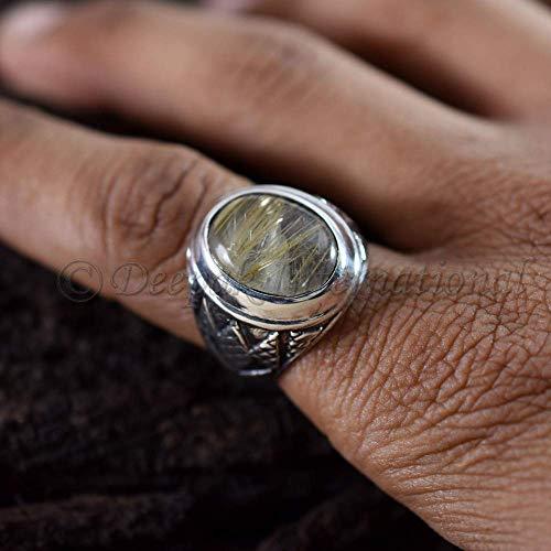 Golden Rutile Gemstone Brass Ring,Golden Rutile Ring,Sterling Brass Ring,Round Shape Ring,Midi Ring,Birthday Gift,Valentine Day Ring Gift