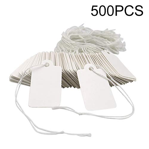 """500 Pcs White Marking Tags Price Tags Strung Price Labels Display Tags with String,1.8""""X 1"""""""