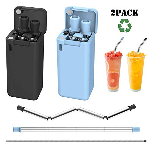Upgraded 2019 Version Collapsible Reusable Straws Stainless Steel Drinking Straws,Portable Set with Hard Case for Party, Travel, Household, Outdoor 2 Pack(Black&Blue) -