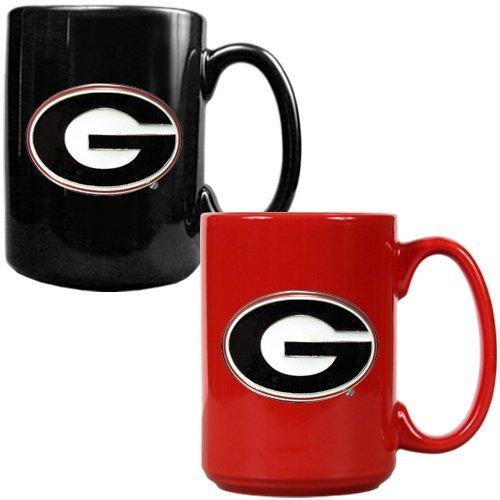 NCAA Georgia Bulldogs Ceramic Mug Set with Primary Logo (2-Piece) -