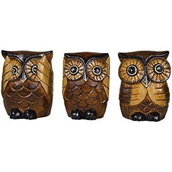 See Hear Speak No Evil Wise Owls Figurine Decor Set Wisdom Of The Woods Owl Hoot