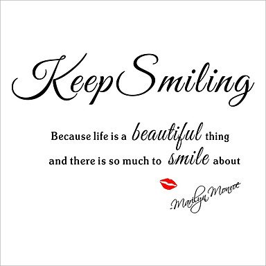 XGHC Keep Smiling Wall Stickers Marilyn Monroe Quote Motivation Wall Decals Red Lips for Love , black (Halloween Mouse Silhouette Pattern)