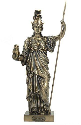 "14.25"" Athena - Greek Goddess of Wisdom and War Statue, Bronze Color -  US, SS-US-WU75974A4"