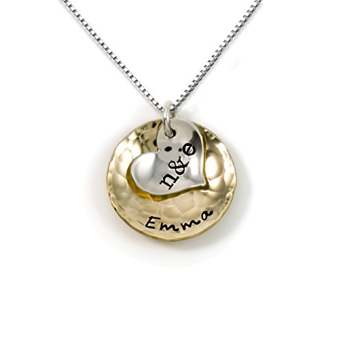 (Sentimentally Close-Personalized Charm Necklace. Features 2 Customized Initials on a Sterling Silver Heart Charm and a Customized Name on a 14k gold plated Disc. Choice of Sterling Silver Chain)