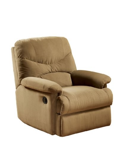 ACME Arcadia Light Brown Microfiber Recliner (Upholstery Chair Arm Sage)