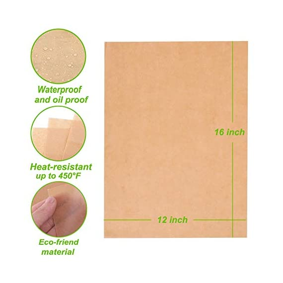 Unbleached Parchment Paper for Baking, 100 Pcs Precut 12x16 inches Cookie Baking Paper Sheets Non Stick Pan liner - Fit for Your Half Sheet Pans, with Silicone Baking Brush as Bonus 3 ✓ The perfect size for half sheet pans - 12'' x 16'' precut parchment paper sheets. More convience than the parchment rolls, save your time on cutting paper ✓ Make Cleanup Easier - Don't need to spend your time on scrubbing off baking grease from your cookie pan, simply remove the paper and throw it away ✓ Free Baking Brush as BONUS GIFT - Each pack of 100 baking sheets papers and includes a random color silicone detachable brush, for baking, grilling, basting & marinating