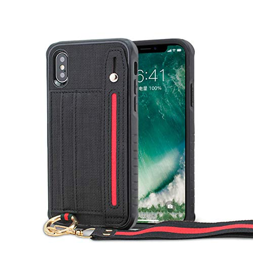 LUXCA Wallet Case for iPhone Xs Max; Professional Leather Zipper Wallet Pocket Purse Handbag Wrist Strap snap on case for Apple iPhone Xs Max (Black)