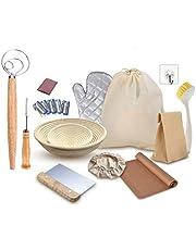 Bread Banneton Proofing Basket Set, Sourdough Starter Kit, 10&6 inch Baking Bowl, Bread Dough Rising Rattan Proofing Basket, Dough Scraper, Starter Jar Proofing Box Gift for Baker, Artisan Bread Dough