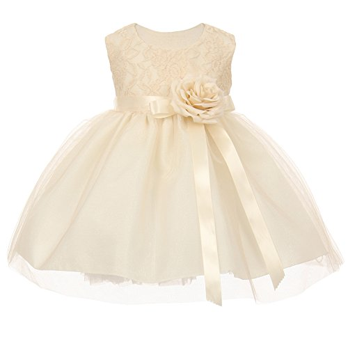 Baby Girls Ivory Two Tone Lace Satin Ribbons Corsage Flower Girl Dress 12M