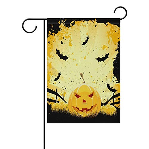 CUTEDAY Decorative Grungy Halloween with Pumpkins and Bats Polyester Garden Flag House Banner,Yard Flags Holiday Seasonal Outdoor Flag Gift 12