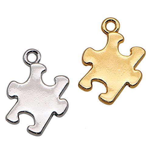 JETEHO 20pcs 2 Colors 16x18mm Metal Puzzle Piece Charms Pendant for Jewelry Making - Autism Asperger Syndrome Awareness Puzzle Piece Charm(Gold and Silver)