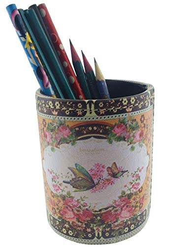 (Vintage Design PU Leather Pencil Pen Holder Desktop Organizer Cute Pen Cup (Flower Butterfly))
