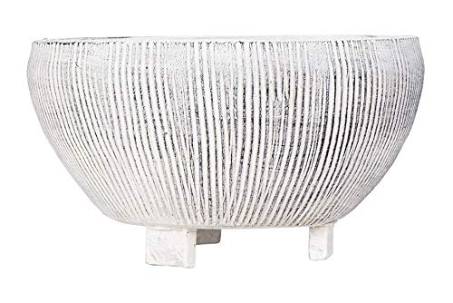 Creative Co-op Small Distressed Cream Footed Terracotta Fluted Texture Planter, 8.25 Inch Round,