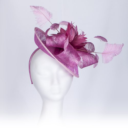 Superb Parisian Style, Brimmed Fascinator Hat for Weddings or Special Occasions, with Ostrich Feathers, Coque Feather Corsage & Sinamay Fabric Bows. Iconic and Classy, Our 'Beaumont' Fascinator. Four colour options: - Day Mail Next Royal Guaranteed Delivery