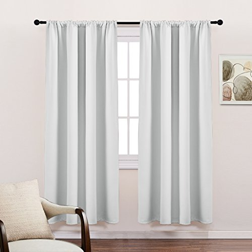 White Thermal Insulated Blackout Curtains - PONY DANCE Thanksgivings Day Gift Room Darkening Rod Pocket Curtain Panels/ Curtain Draperies for Kitchen,42