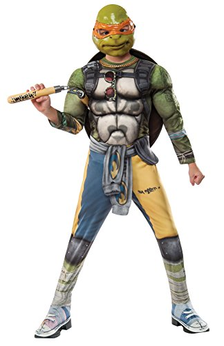 [Rubie's Costume Kids Teenage Mutant Ninja Turtles 2 Deluxe Michelangelo Costume, Small] (2 Person Halloween Costume)