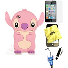 Bukit Cell ® 3D Disney Case Bundle - 5 items: PINK 3D Cute Stitch Soft Silicone Case Cover for iPod Touch 4 4G 4th Generation + BUKIT CELL Trademark Lint Cleaning Cloth + Stitch Figure Anti Dust Plug Stylus Touch Pen + Screen Protector + METALLIC Stylus Touch Pen with Anti Dust Plug
