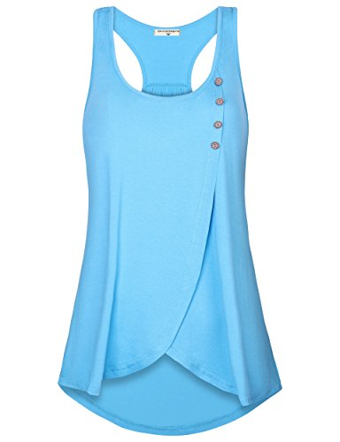 (Derminpro Women Cute Outfits Ruffled Layering Classy Gorgeous Loose Fit Sleeveless Blouse Top Blue Small)
