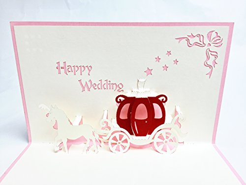 Bridal Carriage (Creve 3D Popup Greeting Card Congratulations Wedding Gift Bridal Gift Wedding Carriage (Pink))