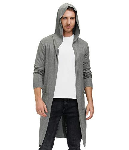 PJ PAUL JONES Men's Knee Length Long Cardigan Open Front Draped Hooded Cardigan Sweaters with Pockets