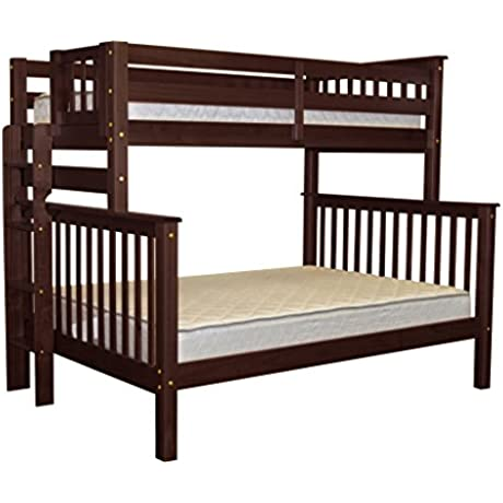 Bedz King Mission Style Bunk Bed Twin Over Full With End Ladder Cappuccino