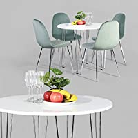 GreenForest Round White Dining Table with Chrome Plated...