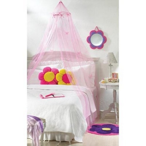 Gifts /& Decor Butterfly Motif Childrens Girls Pink Hanging Bed Canopy