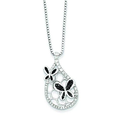 Argent 925/1000 rhodié-Émail noir et blanc Diamètre :  JewelryWeb-Pendentif Papillon