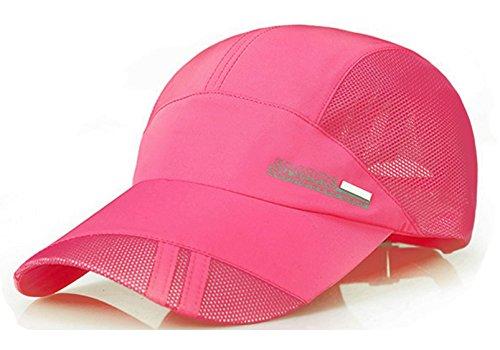 243b76ddd3d Baseball Cap Quick Dry Mesh Back Cooling Sun Hats Sports Caps for Golf  Cycling Running Fishing (Rose Red-1)