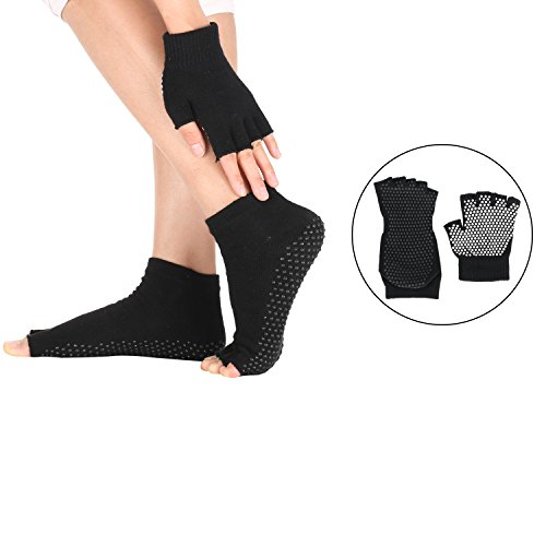 Jiexing Yoga Pilates Barre Socks and Gloves Set Non Slip with Grips for Women and Men
