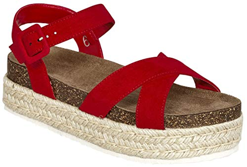 (MVE Shoes Womens Stylish Soft and Comfortable Open Toe Strappy Adjustable Strap Platformed Sandals,Red7m,8 M US)