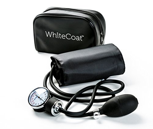 White Coat Deluxe Aneroid Sphygmomanometer Professional Blood Pressure Cuff Monitor with Adult Sized Black Cuff and Carrying Case by White Coat