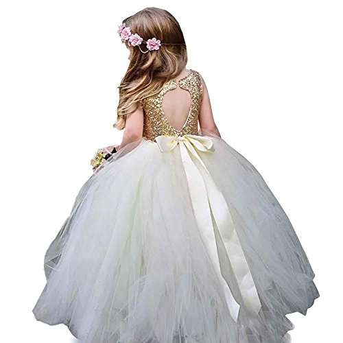 MuchXi Gold Sequins Pageant Dress Long Flower Girl Bridesmaid Dresses Bow