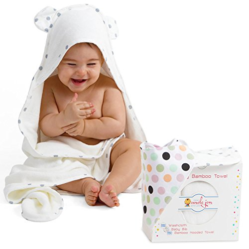 Bamboo Hooded Towel for Babies-Cotton Drooling Bib and Wash Cloth Set for Babies by Uncle Jon – 680GSM Thickness Super Absorbent Bath Towel for Boys and Girls – from Newborn to Toddler