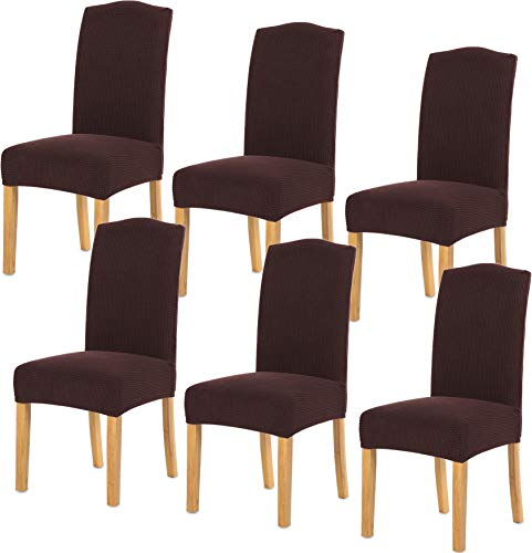 TIANSHU Stretch Chair Cover for Home Decor Dining Chair Slipcover (6 Pack, Chocolate)