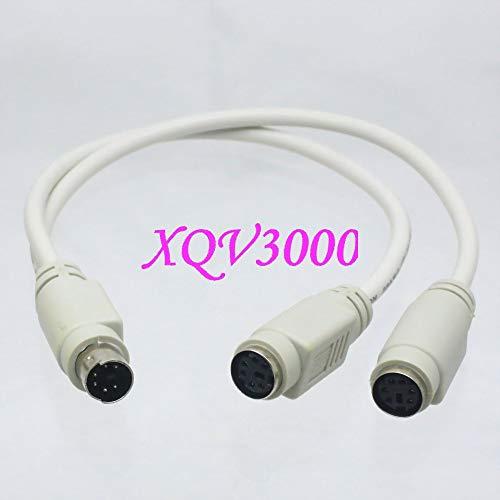 Davitu PS2 Splitter 6 pin Mini Din Male Plug to Dual Female Socket Cable