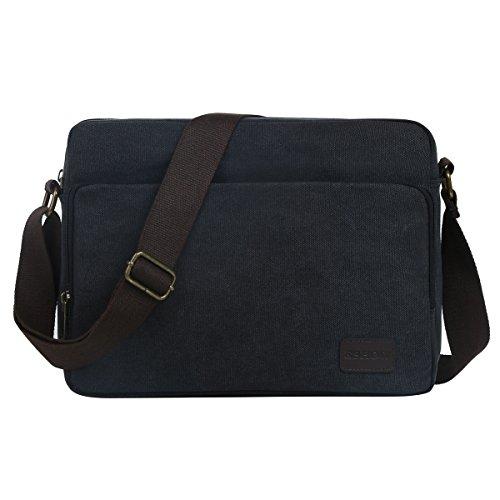 Eshow Men's Messenger Bag Canvas Shoulder Bag for Men Crossbody Work Bag Vintage Business Casual Bag Fits for 14-inch Laptop (black494)