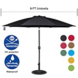 Sundale Outdoor 9 Feet Aluminum Market Umbrella Table Umbrella with Crank and Push Button Tilt for Patio, Garden, Deck, Backyard, Pool, 8 Fiberglass Ribs, 100% Polyester Canopy (Black) For Sale