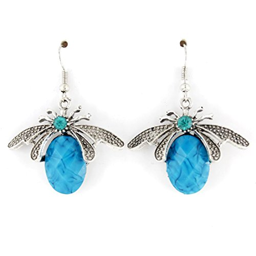 [Simple Silver-tone Bee Dangle Drop Earrings (Blue)] (Scary Bee Costume)