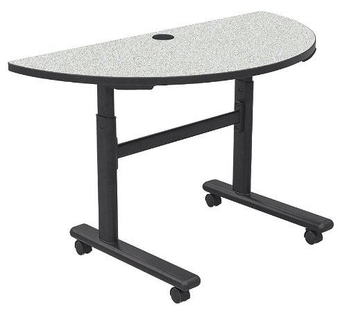 Height Adjustable Half-Round Flipper Training Table Color: Gray Nebula / Black ()