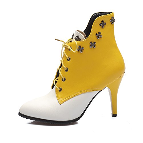 Fashion Heel Womens Stiletto Heel Pointed Toe Two Tone Lace up Ankle Boot Yellow cFrRjj