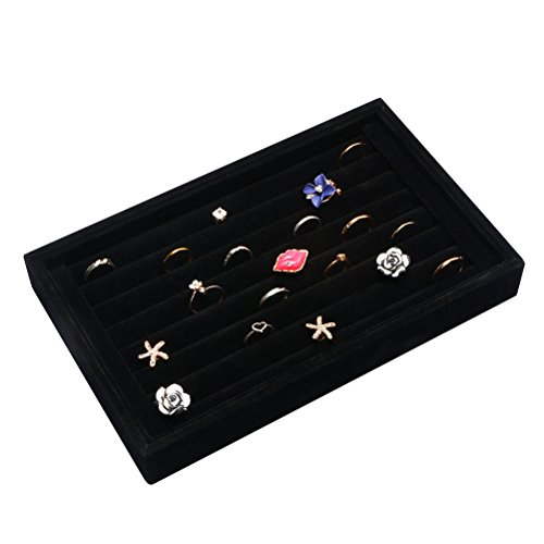 Velvet 7 Slots Ring Earrings Trays Showcase Display Jewelry Organizer