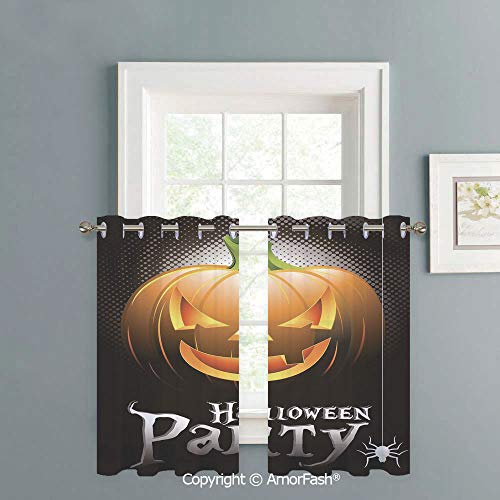 Kitchen Tier Curtains Cafe Curtains Room Short Curtains Bathroom Half Window Curtains,W42 x L36-Inch,Halloween Halloween Party Theme Scary Pumpkin on Abstract Modern Backdrop Spider Decorative -