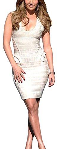 Ajustado sin Vendaje Bodycon Mangas Dress para Vestidos rayón Vestido Bandage Mujer FARINA® Bandage 55010beige Vestido TCAFqgPn
