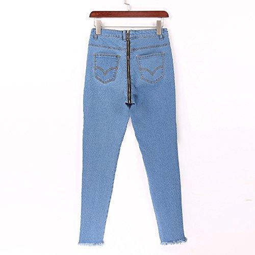 E A Aderenti Alta Zip Chiusura Jeans Con Skinny Vita All'anca Pantaloni 6w81v