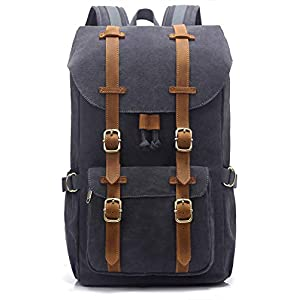 EverVanz Outdoor Canvas Backpack, Waterproof Travel Hiking Camping Rucksack Pack, Large Casual Daypack, College School…